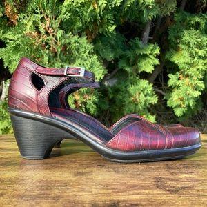 Dansko Roxy Red Burgundy Mary Jane Ankle Strap Heels Size EU 39